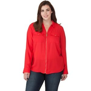 MICHAEL Michael Kors Red Dog Tag Blouse - 2X